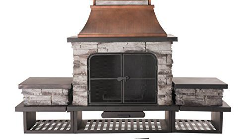 Sunjoy Bel Aire Fireplace Large With Two Table Flats