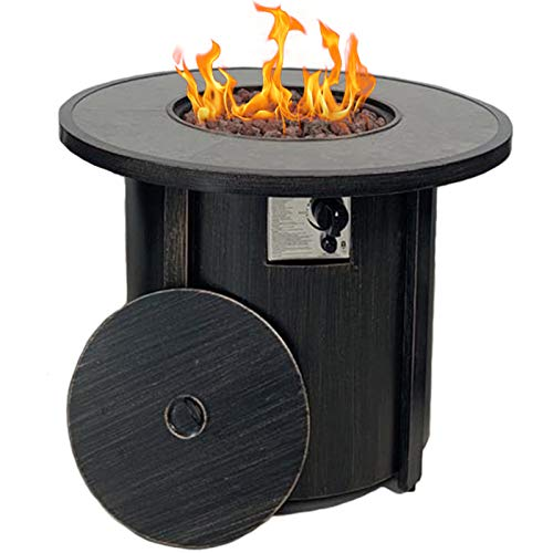 Summerville Propane Gas Fire Pit Table 32 Round Gas Fire Pit 50 000 Btu Outdoor Backyard Smokeless Firepits Patio Heater With Lava Rocks Protective Cover Patio Heaters Patio Fire Pits Patio Heater Covers